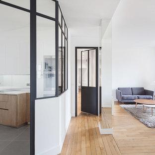Cette image montre une salle de séjour design avec un mur blanc et un sol en bois brun.