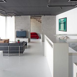 Aménagement d'une grande salle de séjour contemporaine ouverte avec un mur blanc, un téléviseur indépendant, un sol en vinyl et aucune cheminée.