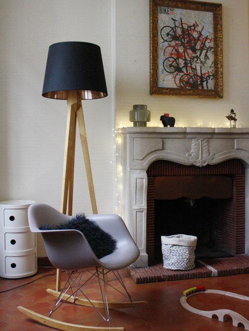 Salle de s jour avec un sol en carreau de terre cuite photos et id es d co - Mitre en terre cuite pour cheminee ...