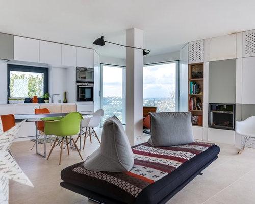 salle de s jour avec une biblioth que ou un coin lecture photos et id es d co de salles de. Black Bedroom Furniture Sets. Home Design Ideas