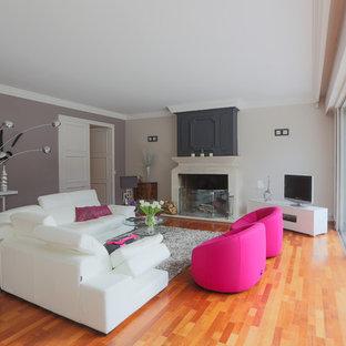 Cette photo montre une grande salle de séjour tendance fermée avec une cheminée standard, un téléviseur indépendant, un mur multicolore et un sol en bois brun.