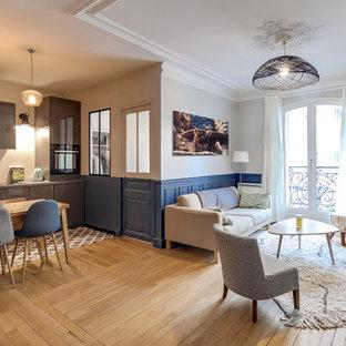 パリの小さいトランジショナルスタイルのおしゃれなオープンリビング (青い壁、淡色無垢フローリング、コーナー設置型暖炉、石材の暖炉まわり) の写真