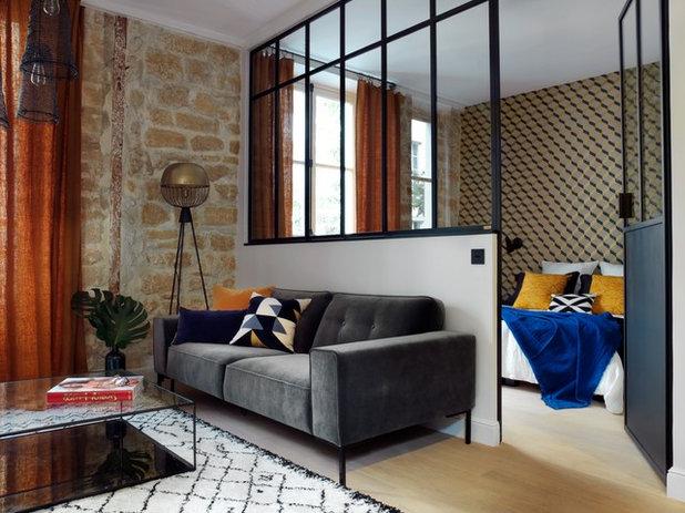 Contemporain Salle de Séjour by Atelier Maureen Karsenty
