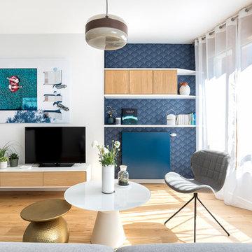 Personnalisation en douceur pour ce studio neuf de 50 m2.