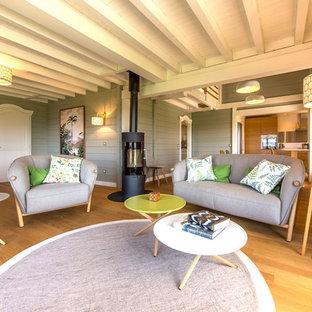 リヨンの広い北欧スタイルのおしゃれなオープンリビング (グレーの壁、淡色無垢フローリング、薪ストーブ、据え置き型テレビ) の写真