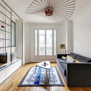 Imagen de sala de estar cerrada, escandinava, de tamaño medio, con suelo de madera en tonos medios, suelo beige, paredes blancas y televisor independiente