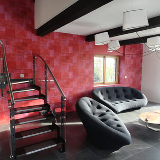 Large trendy open concept ceramic floor family room photo in Rennes with red walls, no fireplace and a tv stand