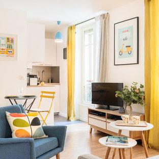 Kleines, Offenes Skandinavisches Wohnzimmer mit weißer Wandfarbe, hellem Holzboden und freistehendem TV in Paris