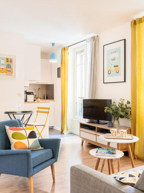 Skandinavische wohnzimmer mit freistehendem tv ideen for 25m2 wohnzimmer einrichten