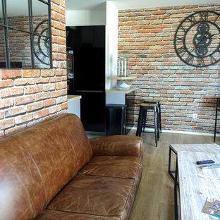 Diseño de sala de estar con barra de bar abierta, urbana, pequeña, sin chimenea, con paredes multicolor, suelo de madera clara y televisor independiente