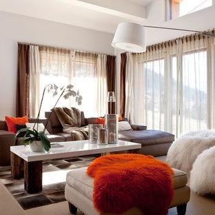 Idées déco pour une grande salle de séjour contemporaine avec un mur blanc.