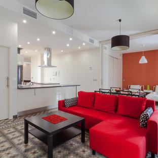 Idee per un soggiorno minimal di medie dimensioni con sala formale, pareti bianche, pavimento con piastrelle in ceramica e nessun camino