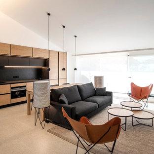 Modelo de salón para visitas abierto, vintage, de tamaño medio, con suelo beige