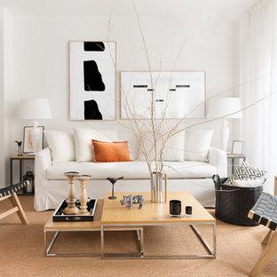 Diseño de salón contemporáneo con paredes blancas, moqueta y suelo beige
