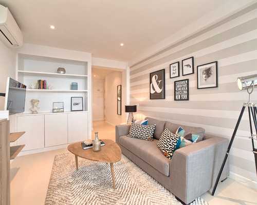 Best beige living room with multicolored walls design for Multi color living room ideas