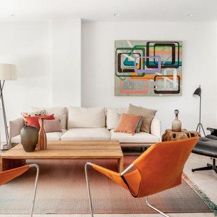 Ejemplo de salón para visitas abierto, contemporáneo, sin chimenea y televisor, con paredes blancas y suelo beige