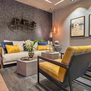 Ejemplo de salón para visitas abierto, clásico renovado, de tamaño medio, sin televisor, con paredes multicolor y suelo beige