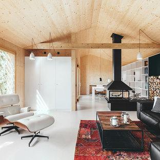 Foto di un grande soggiorno scandinavo aperto con sala formale, camino sospeso, cornice del camino in metallo, nessuna TV e pareti beige