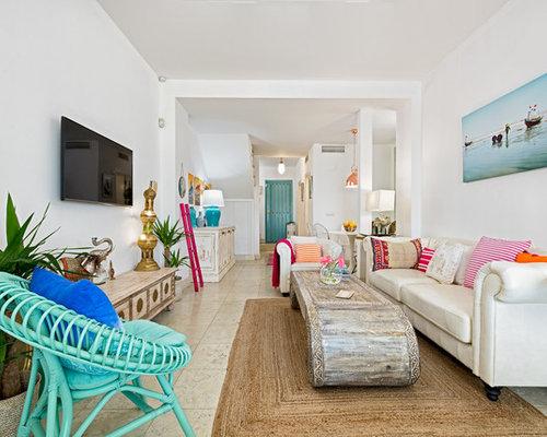 High Quality Idee Für Große, Repräsentative, Offene Tropische Wohnzimmer Ohne Kamin Mit  Weißer Wandfarbe, Marmorboden
