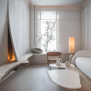 Foto de salón para visitas cerrado, minimalista, de tamaño medio, con paredes grises y suelo gris