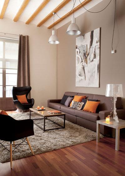 Decoraci n apuesta en casa por el color naranja y los for Salones color tierra