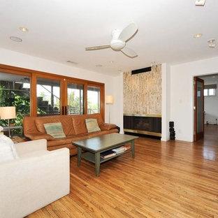 Ispirazione per un grande soggiorno design stile loft con libreria, pareti bianche, pavimento in compensato, nessun camino e parete attrezzata