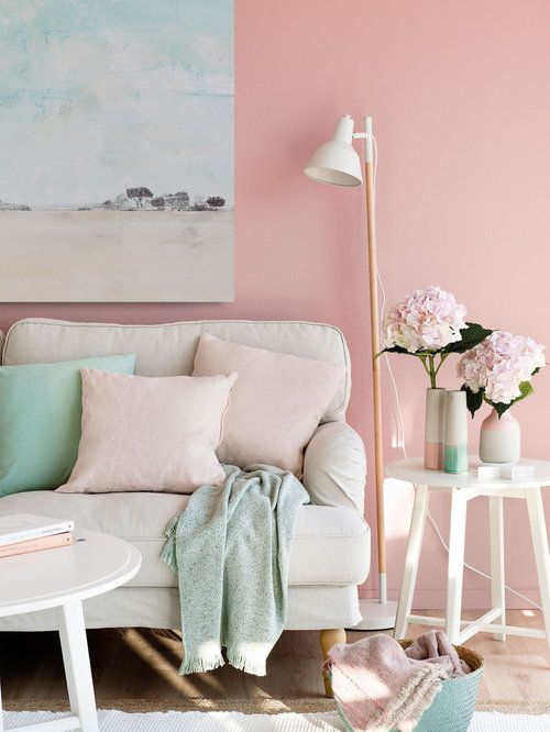 75 Spain Living Room with Pink Walls Ideas: Explore Spain Living ...