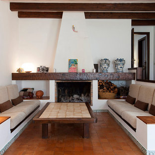 Photo of a mediterranean enclosed living room in Barcelona with a library, white walls, terra-cotta floors and a standard fireplace.