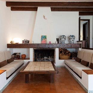 バルセロナの地中海スタイルのおしゃれな独立型リビング (ライブラリー、白い壁、テラコッタタイルの床、標準型暖炉) の写真