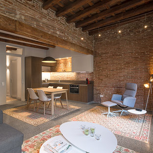 Design ideas for a medium sized industrial formal open plan living room in Barcelona with concrete flooring, brown walls, no fireplace and no tv.