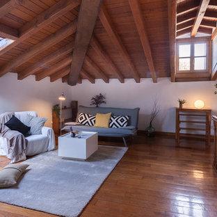Ejemplo de salón rústico con paredes blancas, suelo de madera en tonos medios y estufa de leña