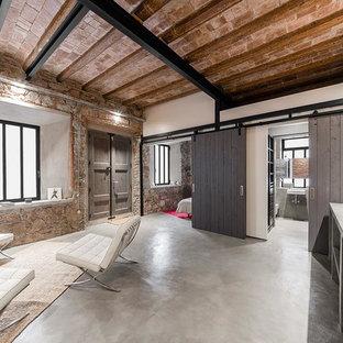 Foto de salón abierto, industrial, de tamaño medio, sin chimenea y televisor, con paredes blancas y suelo de cemento