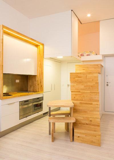 Casas houzz un loft de 28 metros cuadrados articulado por for Loft de 40 metros cuadrados