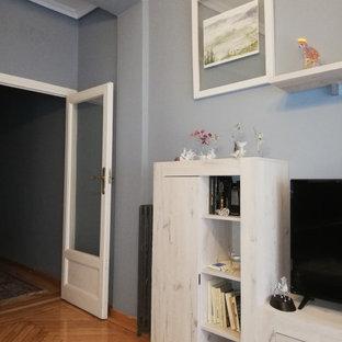 マドリードの中サイズのトランジショナルスタイルのおしゃれなLDK (青い壁、淡色無垢フローリング、暖炉なし、据え置き型テレビ、茶色い床) の写真