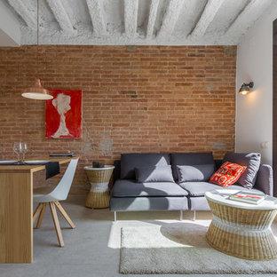 Ejemplo de salón para visitas abierto, urbano, de tamaño medio, sin chimenea y televisor, con paredes blancas