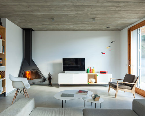 Contemporary fireplace ideas houzz - Como decorar un salon con chimenea ...