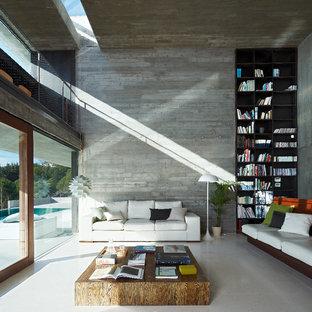 Diseño de salón para visitas cerrado, moderno, grande, sin televisor y chimenea, con suelo de cemento y paredes grises