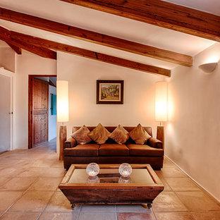 Immagine di un piccolo soggiorno country chiuso con sala formale, pareti bianche, pavimento in terracotta, nessun camino e nessuna TV