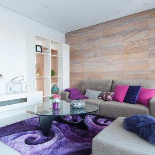 Diseño de salón para visitas abierto, actual, de tamaño medio, sin chimenea y televisor, con paredes multicolor y suelo de baldosas de cerámica