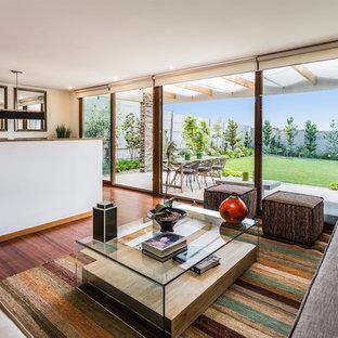 Diseño de salón para visitas abierto, contemporáneo, con paredes blancas, suelo de madera oscura y suelo marrón