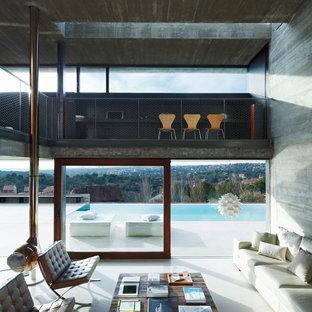 Foto di un grande soggiorno contemporaneo aperto con sala formale, pareti grigie, pavimento in cemento, nessuna TV, camino sospeso e cornice del camino in metallo