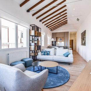 Diseño de salón abierto, contemporáneo, con paredes blancas, suelo de madera en tonos medios, chimenea de esquina, televisor independiente y suelo marrón