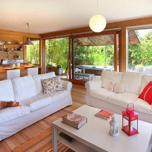 Imagen de salón abierto, exótico, de tamaño medio, con suelo de madera en tonos medios, estufa de leña, marco de chimenea de metal, televisor independiente, paredes marrones y suelo marrón