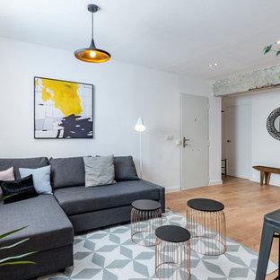 Modelo de salón contemporáneo con paredes blancas, suelo de madera en tonos medios y suelo marrón