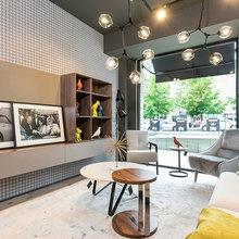 Barcelona Muebles Salon.Salon Con Mueble Tv Y Papel Pintado Midcentury Living