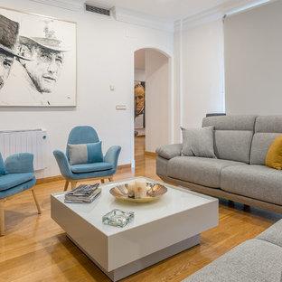 Ejemplo de salón actual con paredes blancas, suelo de madera en tonos medios y suelo marrón