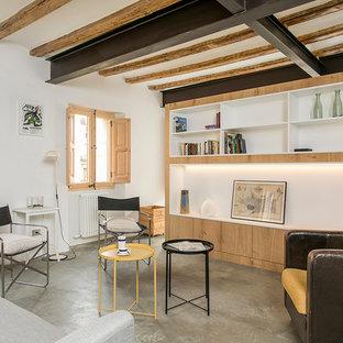 Ejemplo de salón abierto, mediterráneo, sin chimenea, con paredes blancas, suelo de cemento y suelo gris