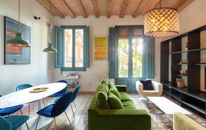 Casas Houzz: Un alegre piso en Barcelona de distribución atípica