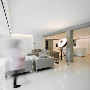 Foto e Idee per Living - living moderno con pavimento in ...