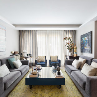Design ideas for a contemporary formal enclosed living room in New York with grey walls, carpet and yellow floors.